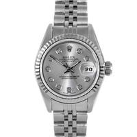 Pre-owned Rolex Women's Stainless Steel Fluted Diamond Datejust Watch