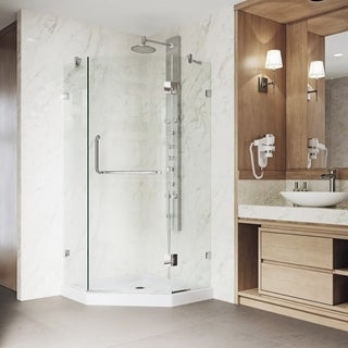 VIGO Frameless Neo Angle Clear Glass Shower Enclosure With Low Profile Base  In Brushed