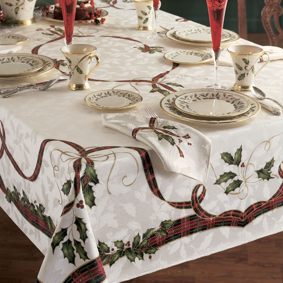 holiday nouveau table cloth by lenox 60 x 120 beige of - Square Christmas Tablecloth