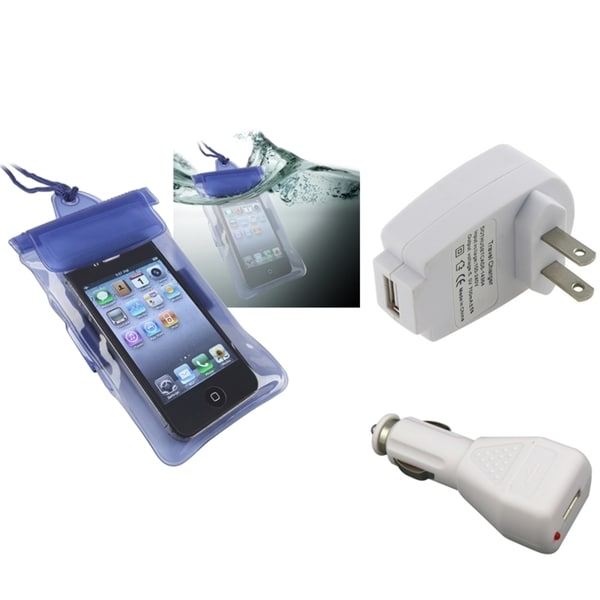 INSTEN Apple iPhone 5 Set with Blue Waterproof Bag and Travel/ Car Chargers
