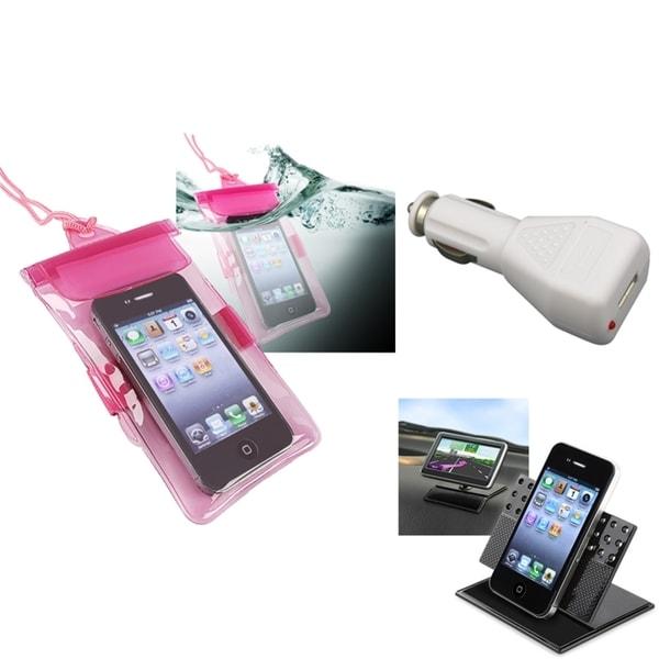 INSTEN Hot Pink Waterproof Bag/ Holder/ Car Charger for Apple iPhone 5