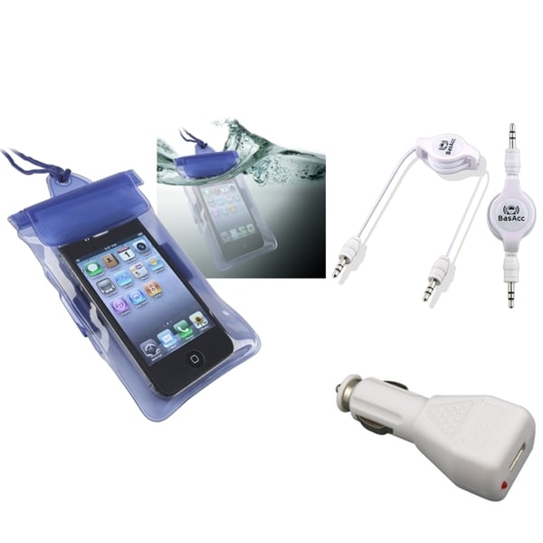 INSTEN Blue Waterproof Bag/ Cable/ Car Charger for Apple iPhone 5