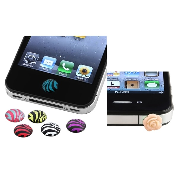 INSTEN Zebra Home Button Sticker/ Dust Cap for Apple iPhone 4/ 4S/ 5