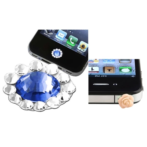 BasAcc Blue HOME Button Sticker/ Dust Cap for Apple iPhone 4/ 4S/ 5