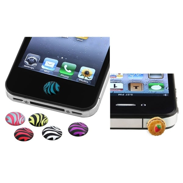 BasAcc Zebra HOME Button Sticker/ Dust Cap for Apple iPhone 4/ 4S/ 5