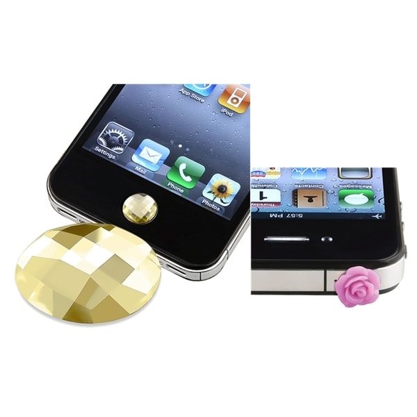 BasAcc Amber HOME Button Sticker/ Rose Dust Cap for Apple iPhone 4S/ 5