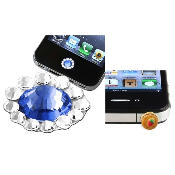 BasAcc Blue HOME Button Sticker/ Dust Cap for Apple iPhone 4S/ 5