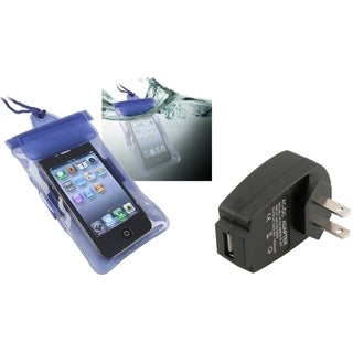 INSTEN Blue Waterproof Bag/ Travel Charger for Apple iPhone 4S/ 5