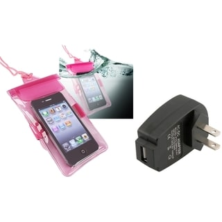 INSTEN Pink Waterproof Bag/ Travel Charger for Apple iPhone 5S/ 5