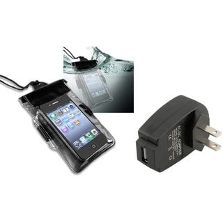 INSTEN Black Waterproof Bag/ Travel Charger Set for Apple iPhone 4S/ 5