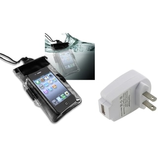 INSTEN Black Waterproof Bag/ Travel Charger for Apple iPhone 4S/ 5