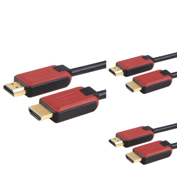 BasAcc 1.5-foot Red/ Black HDMI Cable with Ethernet (Pack of 3)
