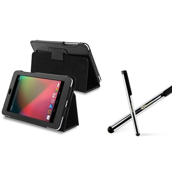 INSTEN Black Leather Phone Case Cover/ Silver Stylus for Google Nexus 7