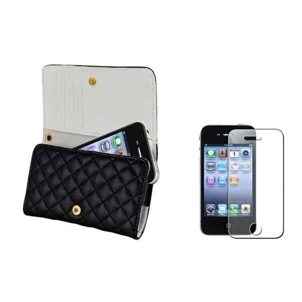 INSTEN Black Wallet Phone Case Cover/ Diamond LCD Protector for Apple iPhone 4/ 4S