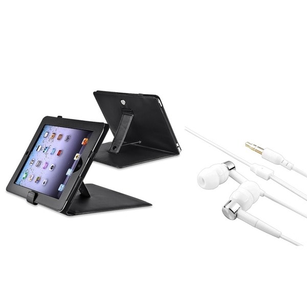 INSTEN Black Leather Tablet Case Cover/ White/ Silver Headset for Apple iPad 1