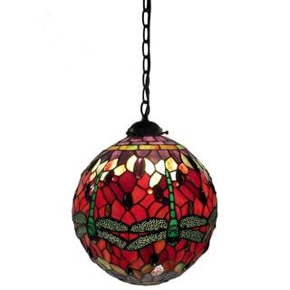 Warehouse of Tiffany Red Globe Hanging Lamp
