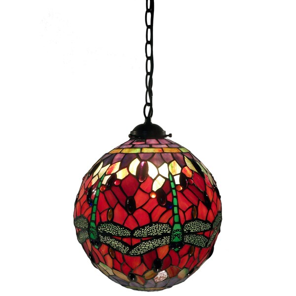 Warehouse of Tiffany Red Globe Hanging Lamp