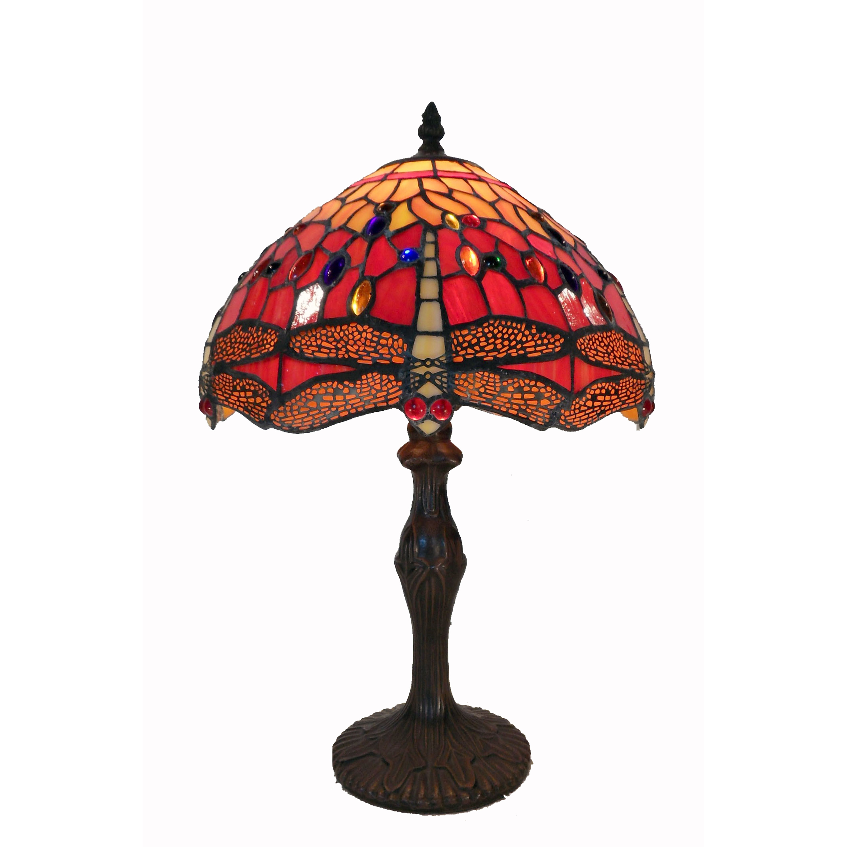 Tiffany style red dragonfly table lamp stained glass craftsman details geotapseo Gallery