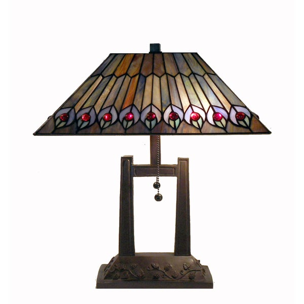 Tiffany Style Peacock Feathers Table Lamp