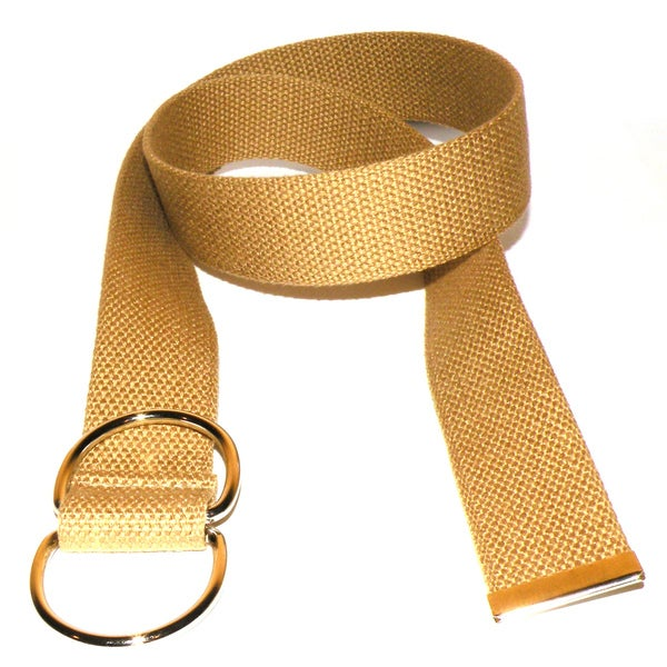 Men's Beige Canvas Double Hoop Belt