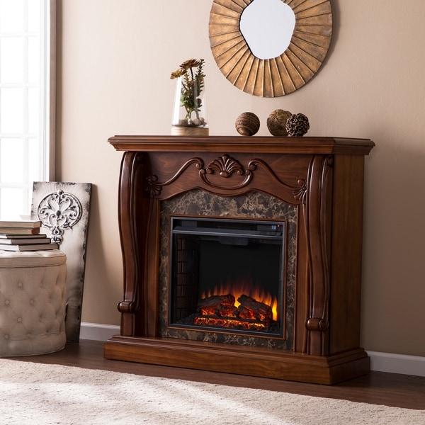 Gracewood Hollow Owens Walnut Electric Fireplace