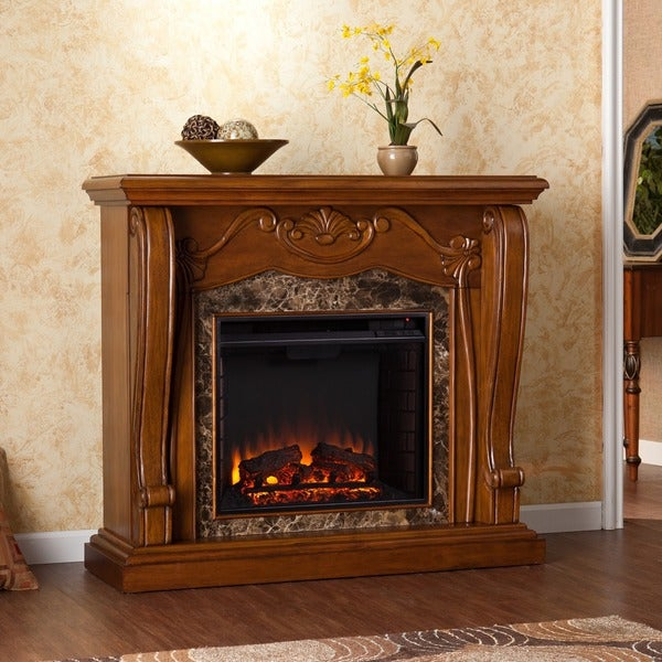 Harper Blvd Sandro Walnut Electric Fireplace