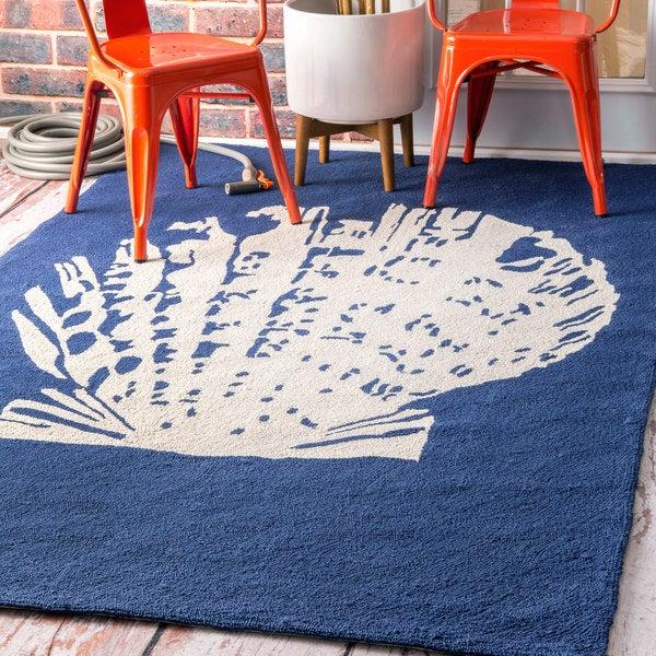 nuLOOM Handmade Indoor/ Outdoor Seashell Blue Rug