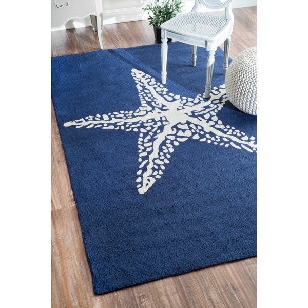 nuLOOM Handmade Indoor Outdoor Starfish Blue Rug Free