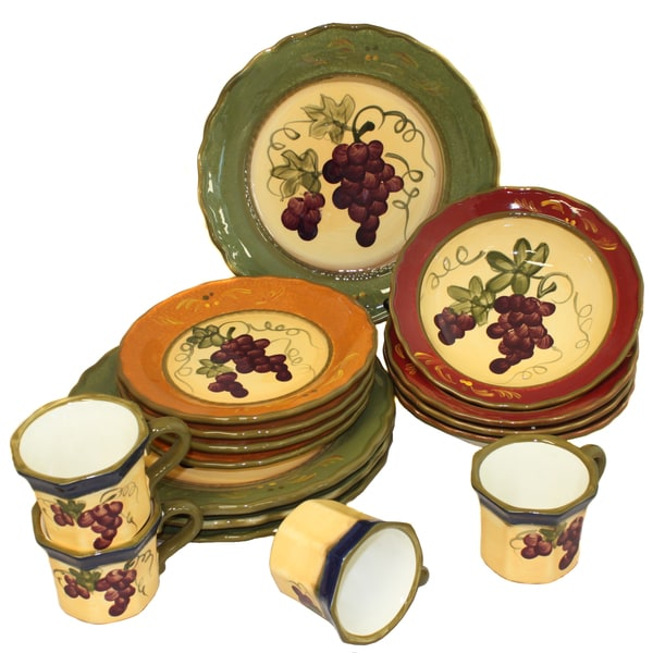 Napa Vineyard Hand-Painted 16-Piece Dinner Set