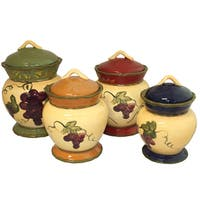 Napa Vineyard Hand-painted 4-piece Canister Set