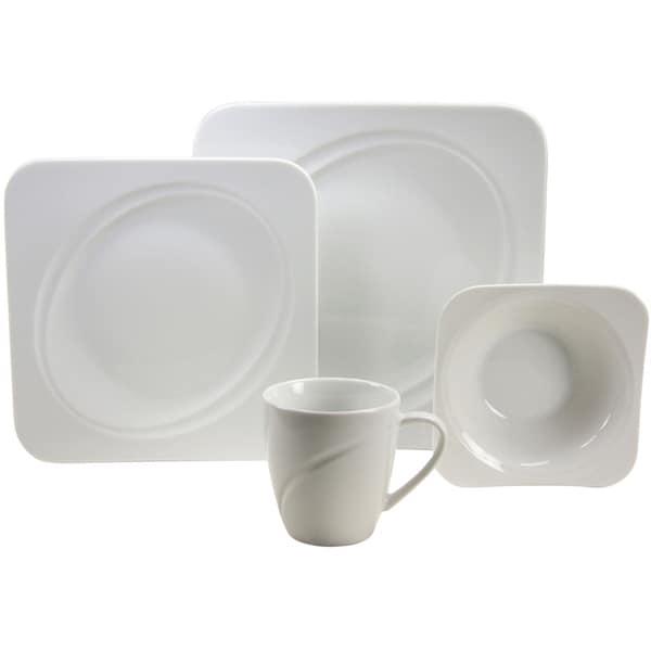 French Home 16-piece Geo Weiss Decor Fine Porcelain Dinner Ware Set