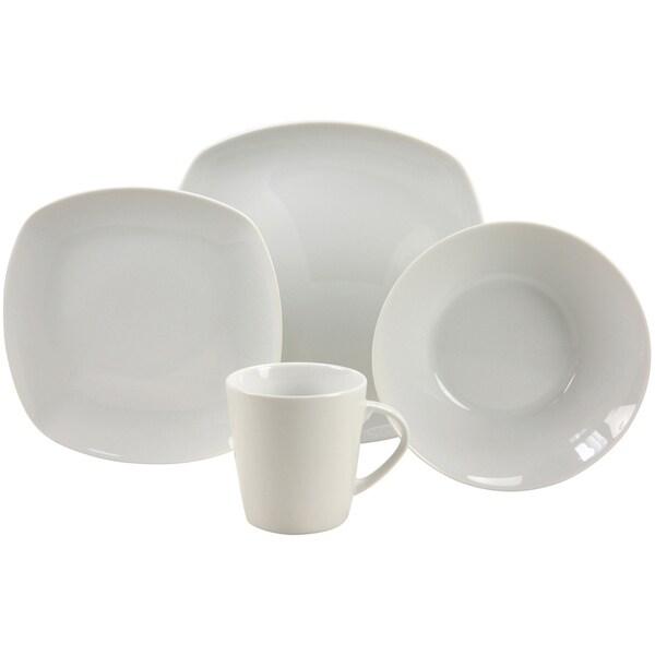 French Home 16-piece Quadro Decor Fine Porcelain Dinner Ware Set