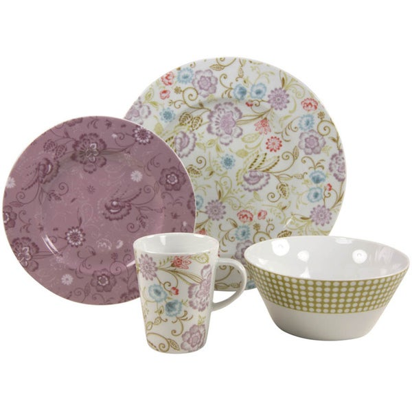 French Home 16-piece Orientale Decor Fine Porcelain Dinner Ware Set