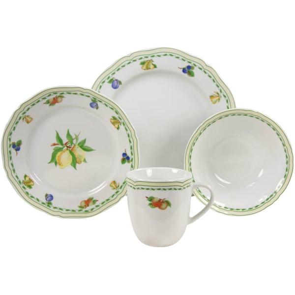 French Home 16-piece Fine Porcelain Cornwall Decor Dinnerware Set
