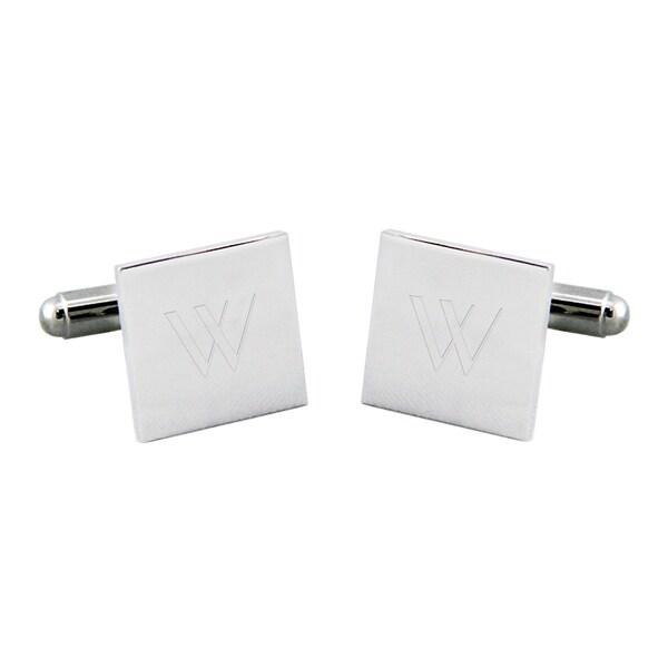 Personalized Silver Square Cuff Links
