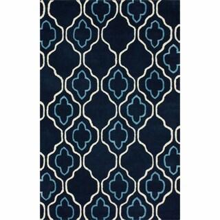 nuLOOM Handmade Moroccan Trellis Navy Wool Rug