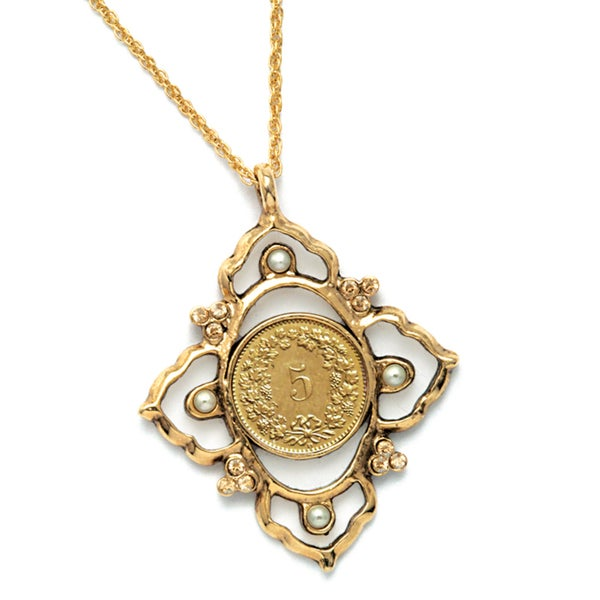American Coin Treasures Victorian Inspired Swiss Coin Pendant