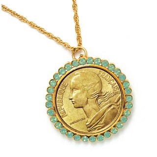 American Coin Treasures French Coin Pendant with Opal-Pacific Crystals