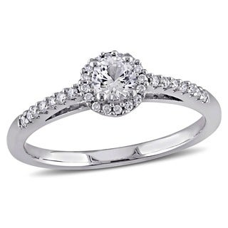 Miadora 14k White Gold White Sapphire and 1/6ct TDW Diamond Ring