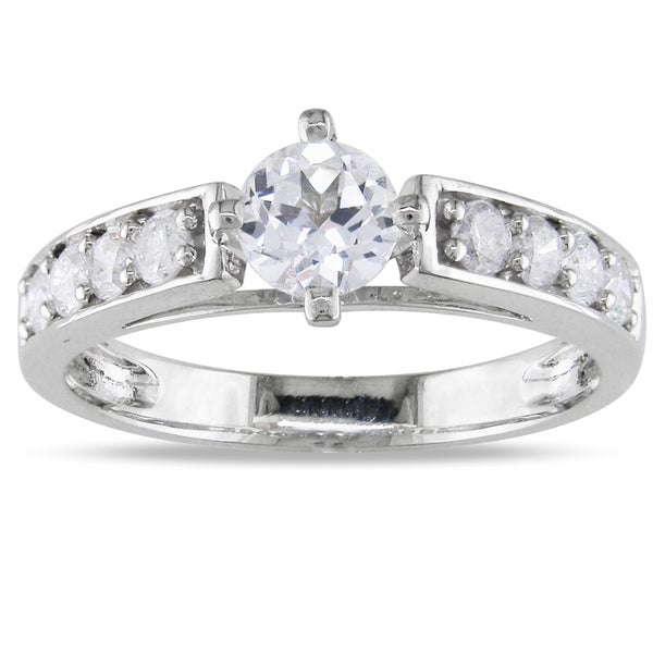 Miadora 14k White Gold White Sapphire and 3/8ct TDW Diamond Ring