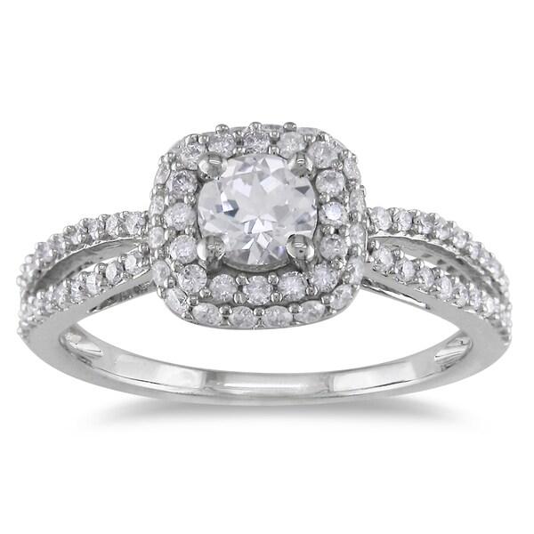 Miadora 14k White Gold White Sapphire and 1/2ct TDW Diamond Ring (G-H, I1-I2)