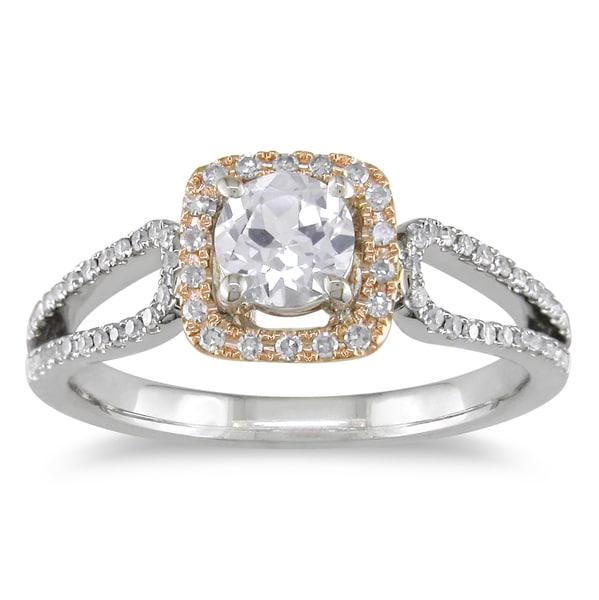 Miadora 14k Two-tone Gold White Sapphire and 1/5ct TDW Diamond Ring