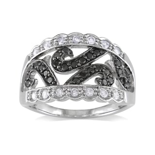 Miadora 14k White Gold 1/2ct TDW Black-and-white Round-cut Diamond Fashion Ring