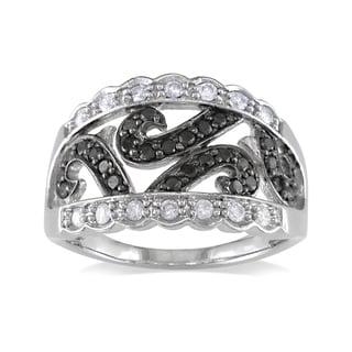 Miadora 14k White Gold 1/2ct TDW Black-and-white Round-cut Diamond Fashion Ring