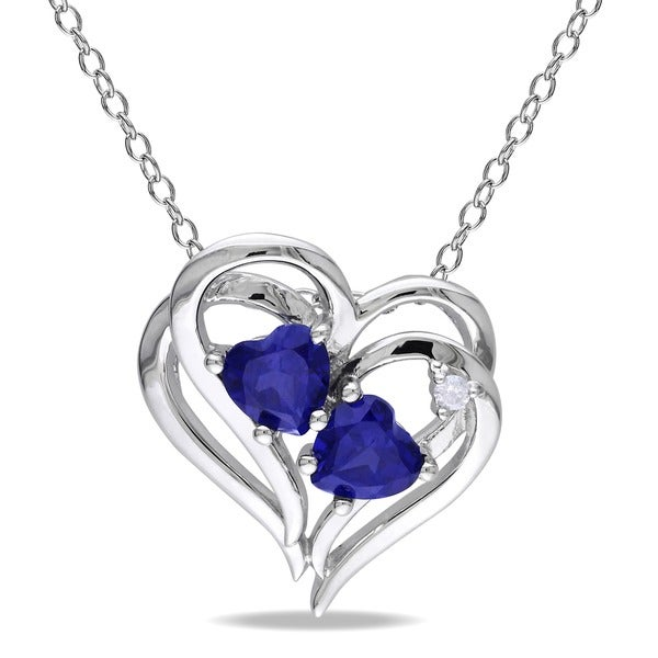 Miadora Sterling Silver Created Blue Sapphire and Diamond Accent Double Heart Necklace (G-H, I2-I3)