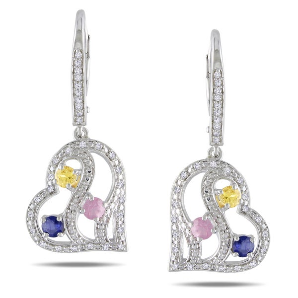 Miadora Sterling Silver Multi Sapphire and 1/4ct TDW Diamond Earrings (H-I,I3)