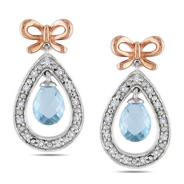 Miadora Sterling Silver Blue Topaz and 1/5ct TDW Diamond Dangle Earrings (H-I,I3)