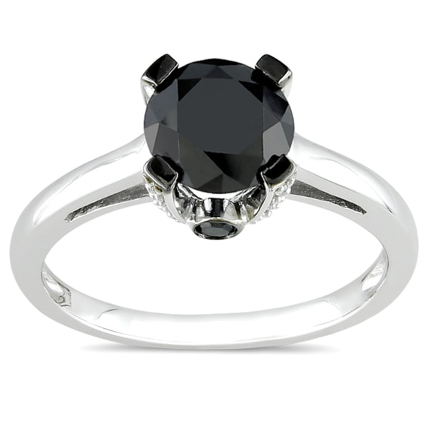 Miadora 10k White Gold 1 1/8ct TDW Black and White Diamond Ring