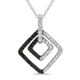 Miadora Sterling Silver 1/2ct TDW Black and White Diamond Necklace