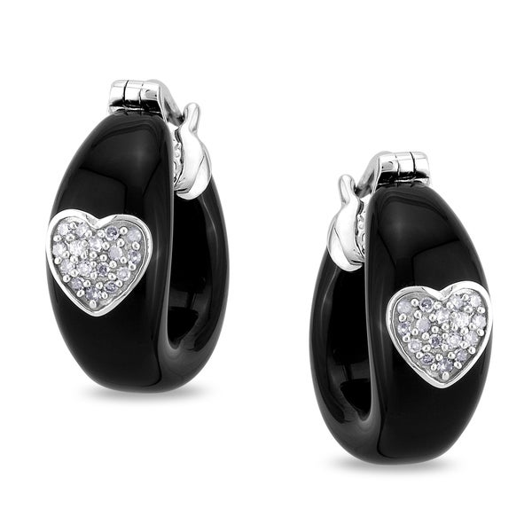 Miadora 14k White Gold Black Onyx 1/10ct TDW Diamond Hoop Earrings (G-H, I1-I2)